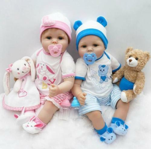 22 2pcs Reborn Baby Twins Dolls Boy Girl Vinyl Silicone