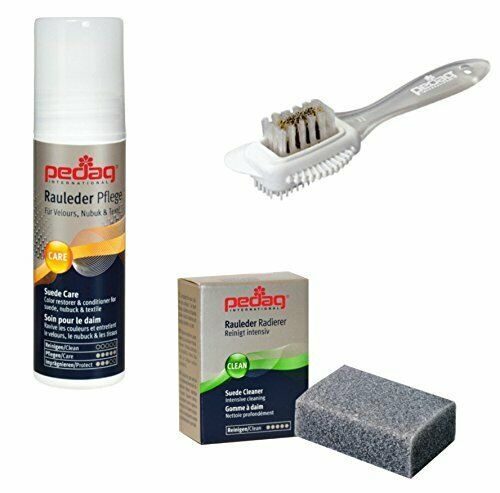 Pedag Suede and Nubuck leather shoe care kit, restore and protect textile colors