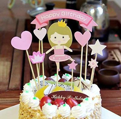 PureArte Happy Birthday Cake Topper For Girls Party Decoration Pink Princess  - Pink Birthday Cake