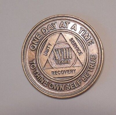 aa bronze alcoholics anonymous 18 year sobriety chip coin token medallion, used for sale  Shipping to Canada