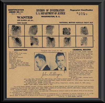 1933 John Dillinger Wanted Poster Fingerprints Reprint On 80 Year Old Paper P032