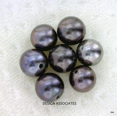 AAA 6.5 MM+ Black Freshwater Peacock Half Drilled Round Pearls 2 PC Set