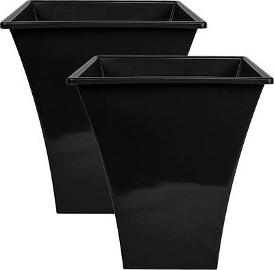 2 x BLACK Large Plant Pots Planters Indoor Outdoor Garden Tall Plastic Planter