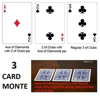 Bicycle Blue Back 3 Card Monte Magic Trick Chace the Ace Ultimate -