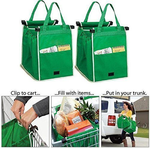 2 New Clip to Trolley Easy Pack Shopping Trolley Organiser Section Bags uk