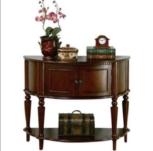 Details About Wood Console Table Antique Rustic Storage Cabinet Curved  Front Inlay Shelf Doors