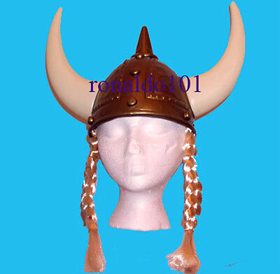 Two Lady Thor Viking Costume Helmets Braids NEW Plastic Party Hats with - Lady Thor Kostüm