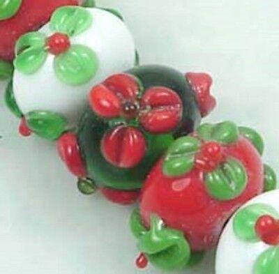 Lampwork Handmade Glass Rondelle Beads Christmas Color I (6) - Lampwork Glass Beads