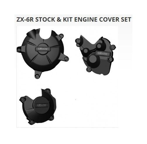GB Racing 3 Piece Engine Case Cover Kit for 2009-12 Kawasaki ZX6R