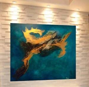 Gold leaf abstract on canvas -One of a kind
