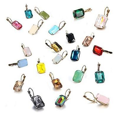 Copper Crystal Earrings - Colorful Life Statement Leverback Dangle Drop Earrings Copper Crystal(18 Colors)