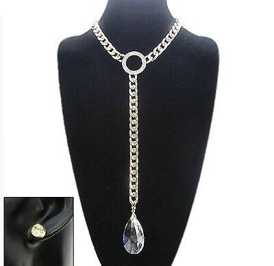 Adjustable Gold Tone Chain Link Necklace W Clear Teardrop Pendant (Gold Tone Teardrop Link)