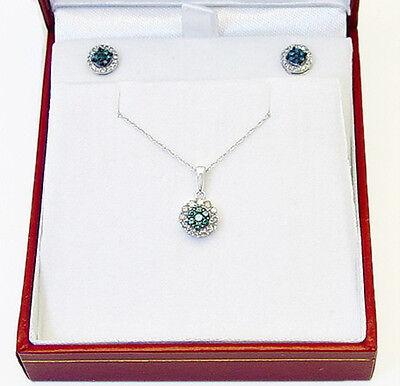 Gift! 100% 10K White Gold Blue & White Diamond Cluster Pendant & Earring Set