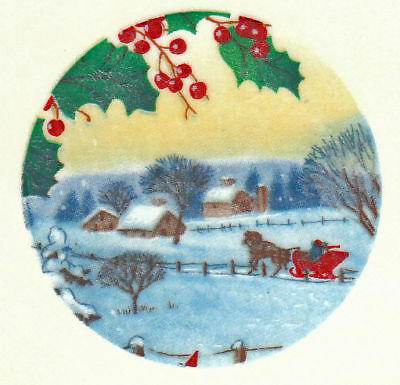 Ceramic Decals Christmas Sleigh Scene Holly/Berry 1.5in