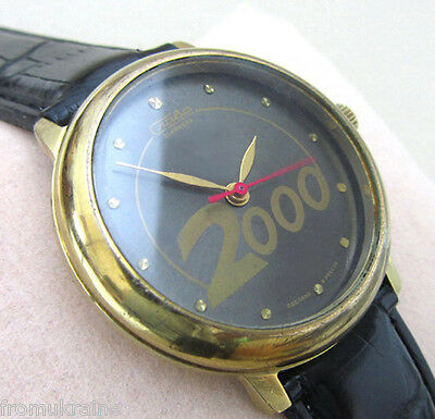 SLAVA 2409 2000 MILLENNIUM GOLD Vintage Soviet Russian Mechanical Wrist Watch