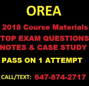 OREA Exam Notes (Courses 1-5) --Most Recent Pass was Oct.25/2018