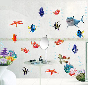 FINDING NEMO Fish Wall Stickers Art Paper Sea Bathroom Decal Nursery Baby Room