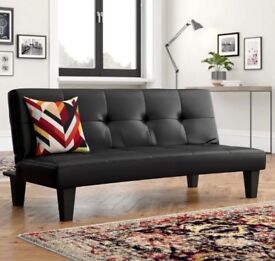 Black Clic Clac Sofa Bed 3 Seater Faux Leather Collection Only