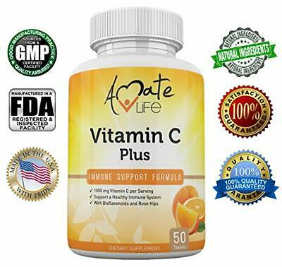 Acid 50 Mg Tabs (Vitamin C Plus 1000mg (Ascorbic Acid) for Immune Support - 50 Tabs by Amate Life )