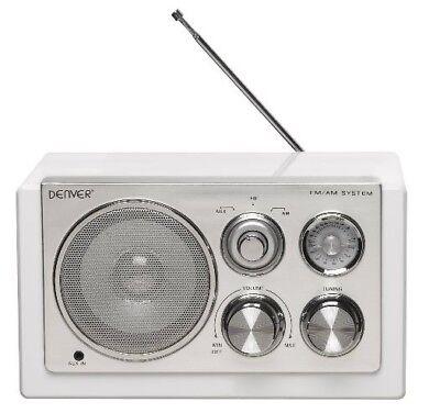 Radio Retro Design Denver TR-61 WHITE mit AUX IN für MP3 Player oder Handy
