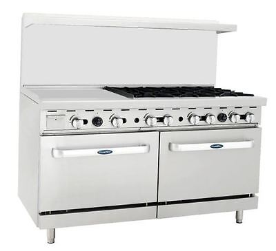 New Heavy 60 Range 24 Griddle 6 Burners 2 Full Ovens Stove Natural Gas Only