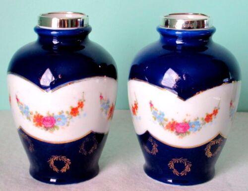 David Loebl Pair of Vases Cobalt Glaze Sterling Silver Mounds Floral Garlands