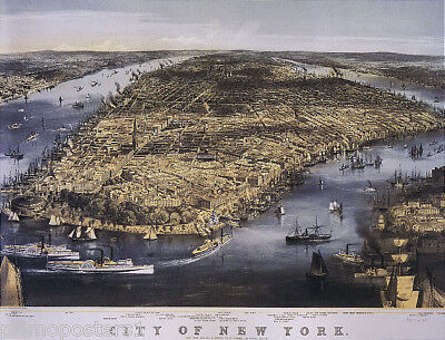 1800'S PANORAMIC VIEW MAP CITY OF NEW YORK USA REPRO POSTER