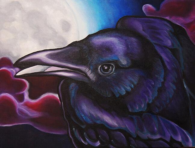 18x24 RAVEN ORIGINAL Wildlife Crow Oil on Canvas signed Painting Bird Art VERN