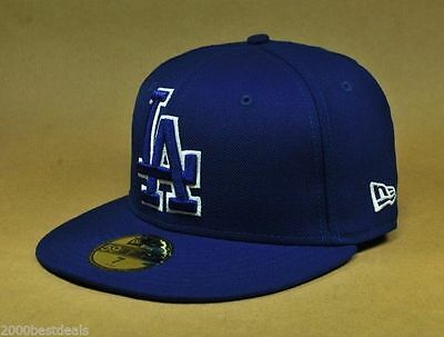 New Era 59Fifty Los Angeles Dodgers Large Front Logo Hat Cap Royal Blue Fitted