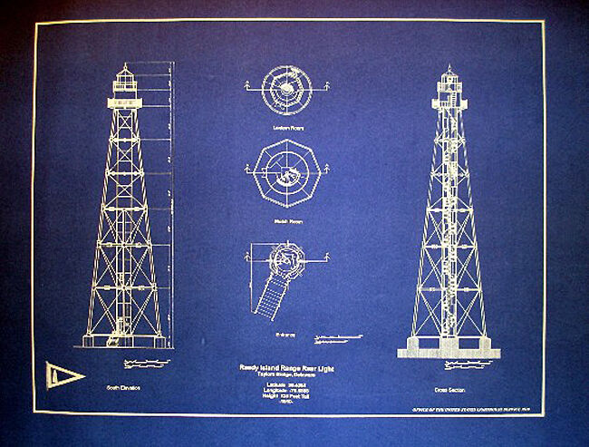 "Lighthouse Plan 1910 Delaware Reedy Island Blueprint  14""x18"" (188)"