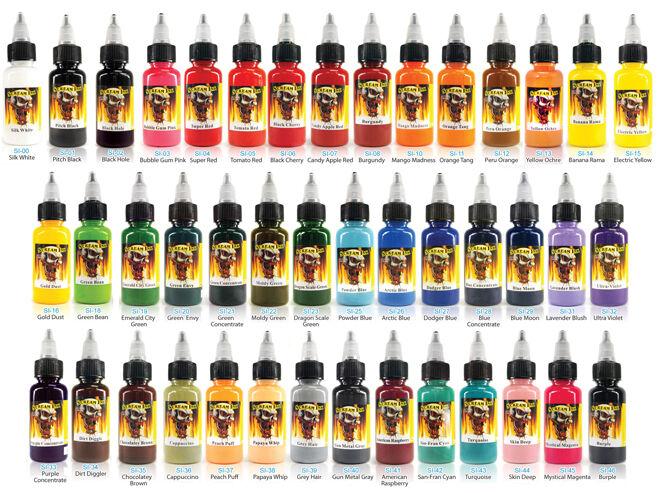 SCREAM TATTOO INK 43-PACK Complete Color Set 1/2-oz Bottles Black Ink Supply