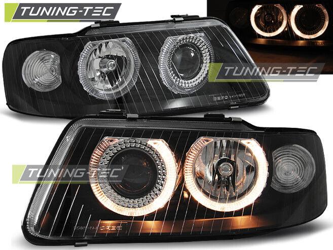 Klarglas Angel Eyes Scheinwerfer Set Audi A3 8L Facelift 09/00 - 05/03 schwarz