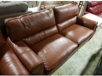 Tan Brown leather 3 & 2 seater sofa
