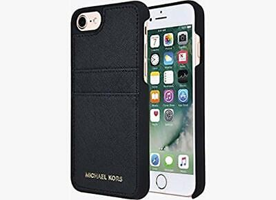 Michael Kors iPhone 7 iPhone 8 Hard Leather Snap Cover Case w/Card Slots (Black)