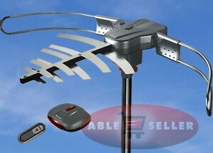 OUTDOOR-TV-ANTENNA-MOTORIZED-AMPLIFIED-HDTV-HIGH-GAIN-36dB-UHF-VHF-150-MILES