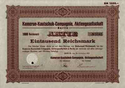 Kamerun Kautschuk Compagnie 1937 Kakao Berlin Mukonje 1000 RM RARE KolonialAktie