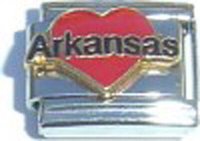 Italian Charm Enamel I Love heart Arkansas AR US State