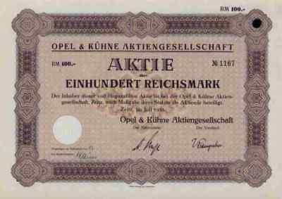 Opel Kühne AG 1933 Zeitz Sachsen Anhalt Kinderwagen Stammaktie 100 Reichsmark