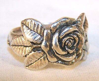 Rose Biker Ring Braa16 Heavy Silver Flower Jewelry Mens Women Roses