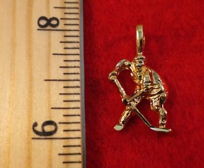 Player Charm 14kt Gold Jewelry - 14KT GOLD EP SPORTS HOCKEY PLAYER PENDANT CHARM - 2442