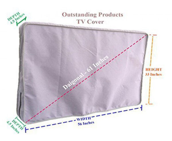 Weather Resistant Lined Protective Outdoor TV Cover For VIZIO E60-E3 HD TV Gray