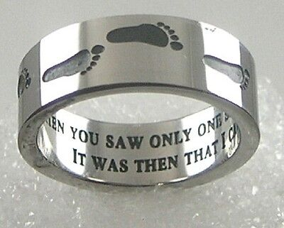 """""""Footprints in the Sand"""" Ring Stainless Steel Black Silver Band SZ 5-13"""
