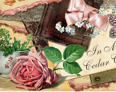 Shabby Vtg Chic Pink Roses Teacup Jewelry Ephemera Ebay Auction Template Listing