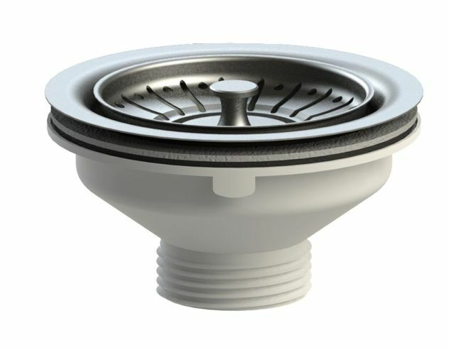 VIVA Kitchen Sink Basket Strainer Waste & Plug WITHOUT Overflow Fitting 90mm