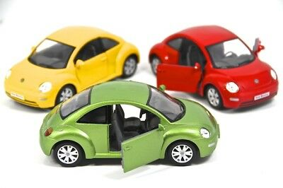 "3PC SET: 6.5"" Kinsmart VW Volkswagen Beetle New Diecast Model Toy Car 1:24"