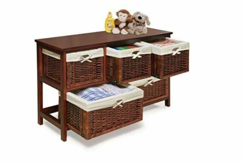 Nursery Organizer Dresser with Wicker Baskets Storage Bureau Baby Kids Chest Kid