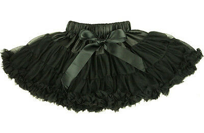 Black Pettiskirt Ruffle Butts Skirt Solid Frilly Ruffles Dance Costume Witch 12m - Newborn Witch Costume