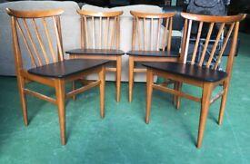 Eliot's Of Newbury dining chairs 1960 retro vintage