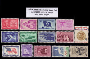 RJames: US 1957 Commemorative Year Set (14 stamps), MNH
