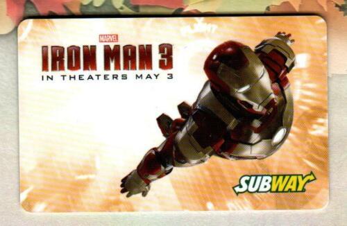 SUBWAY Iron Man 3 ( Yellow ) 2013 Gift Card ( $0 )